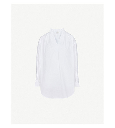 SANDRO Ruffled cotton-poplin shirt (Blanc