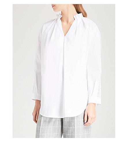 SANDRO Ruffled cotton-poplin shirt (Blanc