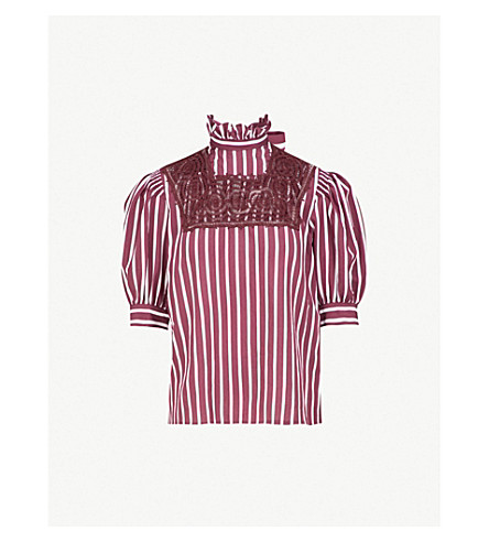 SANDRO Lace-embroidered striped crepe top (Bordeaux