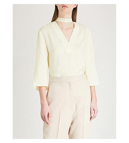 SANDRO Choker-detail twill blouse (Jaune
