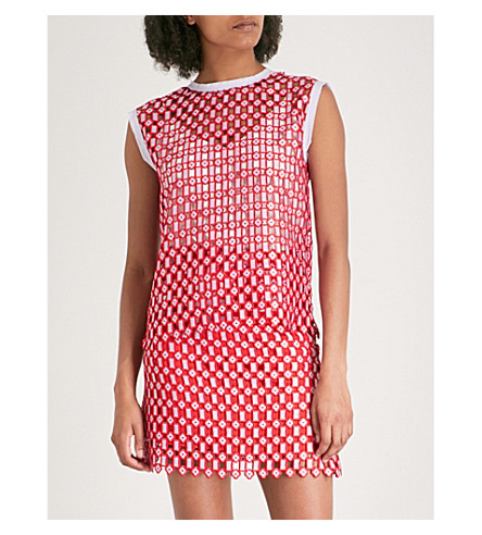 SANDRO Semi-sheer lace top (Rouge