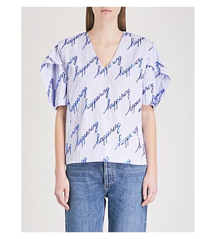 SANDRO Sequin-embellished striped cotton-blend top (Bleu