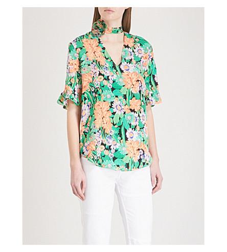 SANDRO Floral-print neck-detail silk-crepe top (Vert+amande