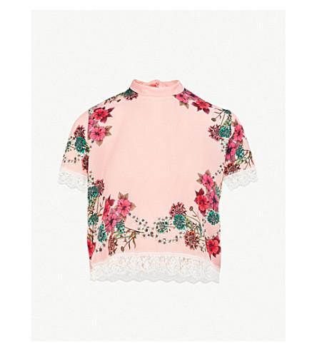 SANDRO Lace-detail printed silk top (Rose