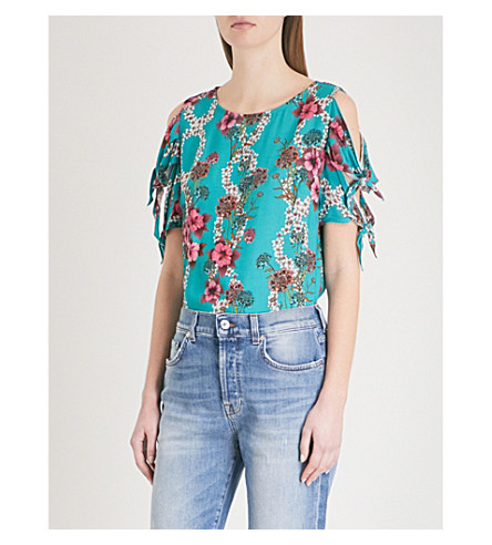 SANDRO Bow detail floral print top (Bleu+turquoise