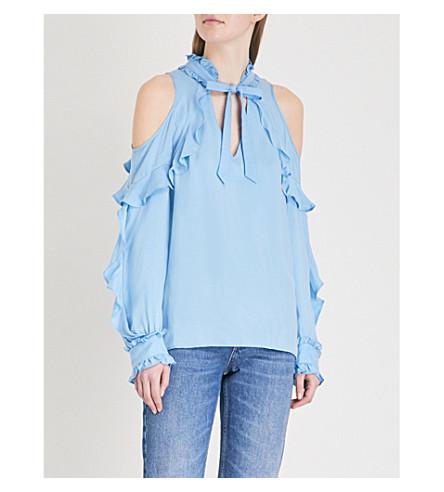 SANDRO Cold-shoulder ruffled crepe top (Bleu+ciel