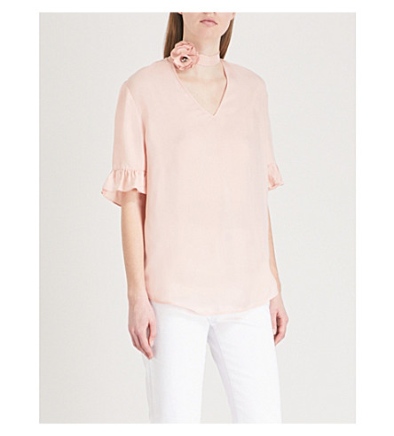 SANDRO Floral-collar twill top (Blush