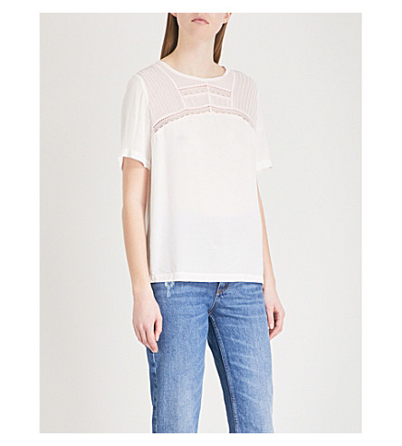 SANDRO Lace-embroidered crepe top (Ecru