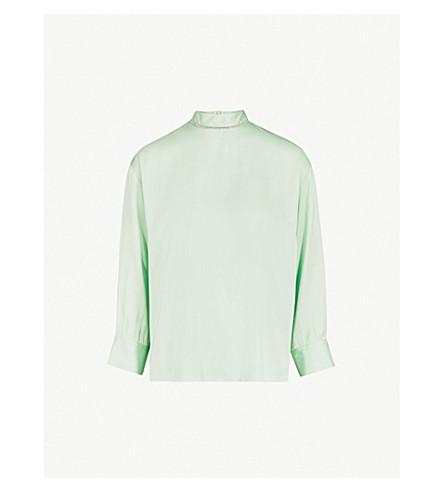 SANDRO Crystal embellished-collar satin blouse (Vert+amande