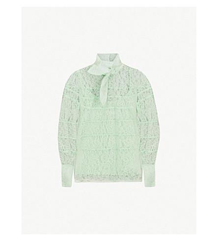 SANDRO Floral-lace woven top (Vert amande
