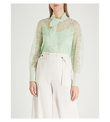 SANDRO Floral-lace woven top (Vert+amande