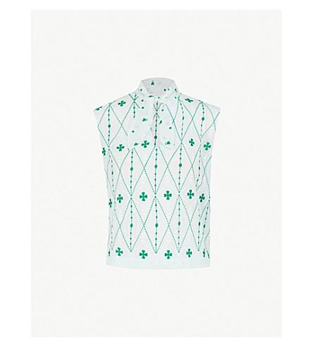 SANDRO 蝴蝶结花印花绉纱上衣 (绿 + 白