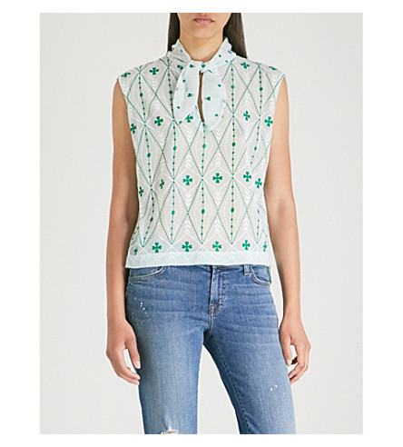 SANDRO Pussybow floral-printed crepe top (Green+++white
