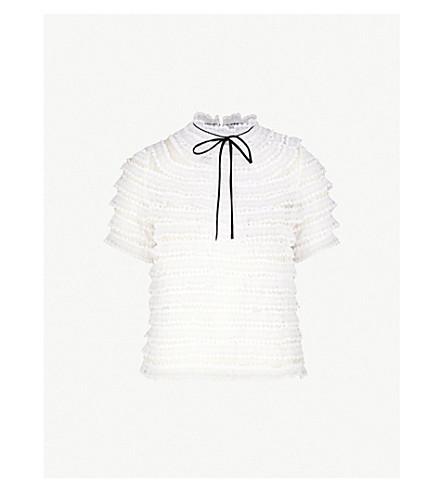 SANDRO High-neck silk-lace top (Ecru