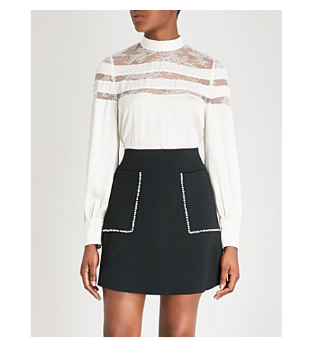 SANDRO Pussy-bow lace-panelled satin blouse (Ecru
