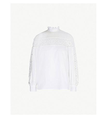 SANDRO Floral-lace panel cotton top (Ecru