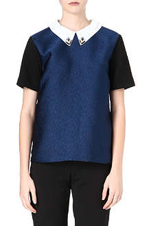 SANDRO Evidence embellished-collar top