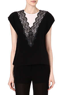 SANDRO Eblouie lace trim top