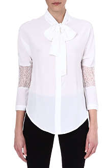 SANDRO Lace-detail silk shirt
