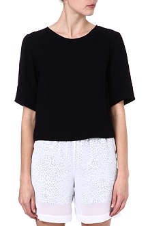 SANDRO Short-sleeved crepe top
