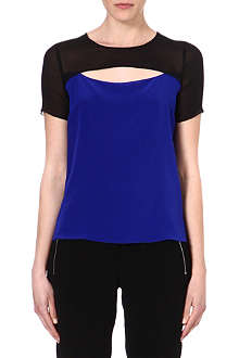 SANDRO Cut-out silk top