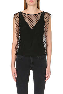SANDRO Etta sleeveless silk top