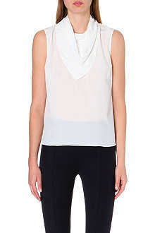 SANDRO Elvi scarf-collar silk top
