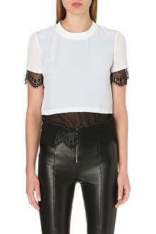 SANDRO Elga lace detail t-shirt