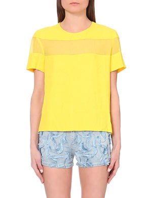 SANDRO Sheer-panel woven top