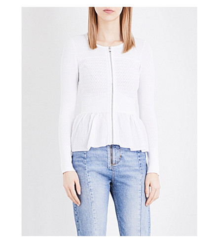 SANDRO Lace-pattern knitted cardigan (White