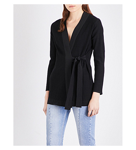 SANDRO Wrap knitted cardigan (Black