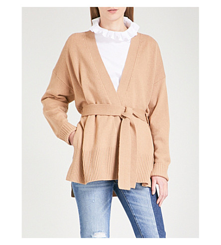 SANDRO Wrap wool and cashmere-blend cardigan (Beige