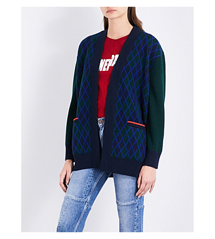 SANDRO Embroidered wool-blend cardigan (Green
