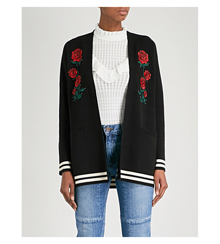 SANDRO Rose-embroidered knitted cardigan (Black