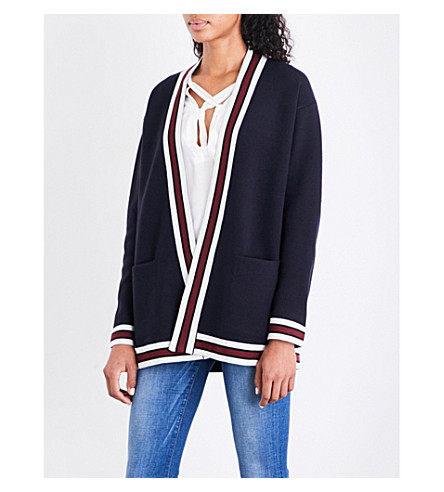 SANDRO Striped-trim knitted cardigan (Navy+blue