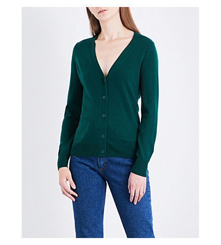 SANDRO V-neck wool and cashmere-blend cardigan (Green