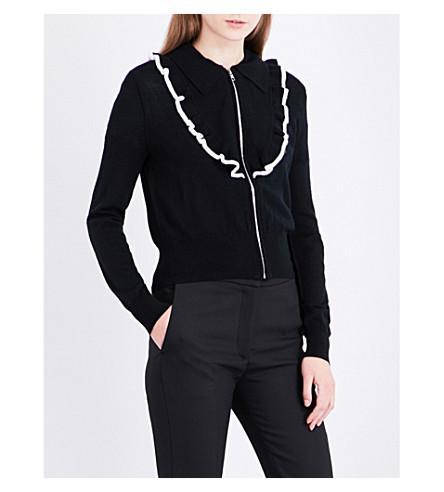 SANDRO Ruffled wool-blend cardigan (Black