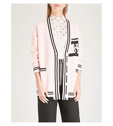 SANDRO Striped-trim wool and cashmere-blend cardigan (Malabar