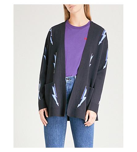 SANDRO Lightning bolt-intarsia knitted cardigan (Marine
