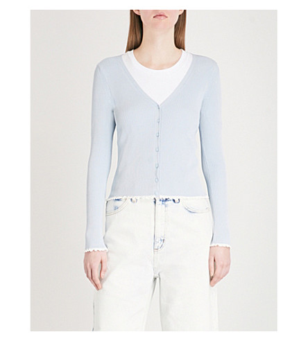 SANDRO Frilled-trim knitted top (Bleu+ciel