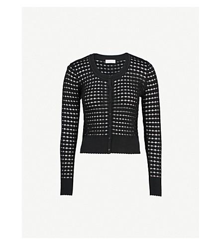 SANDRO Scoop neck pointelle-knit cardigan (Noir