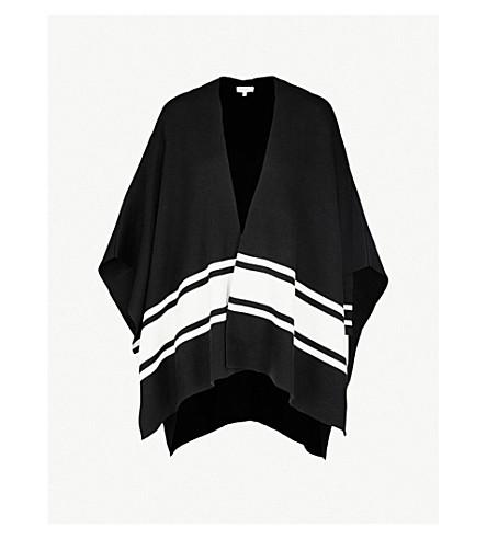 SANDRO 条纹装饰针织开襟衫 (黑色