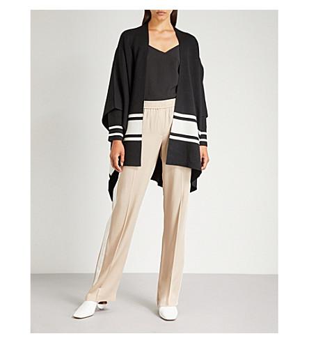 SANDRO Stripe trim knitted cardigan (Black