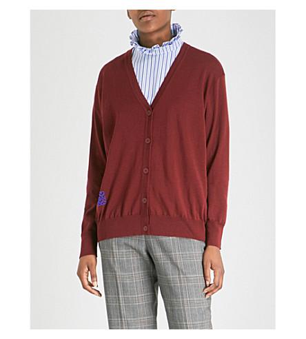 SANDRO 细针织羊毛开襟衫 (Rubis