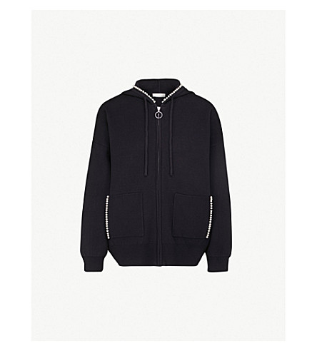SANDRO Faux pearl-embellished knitted cardigan (Deep+navy