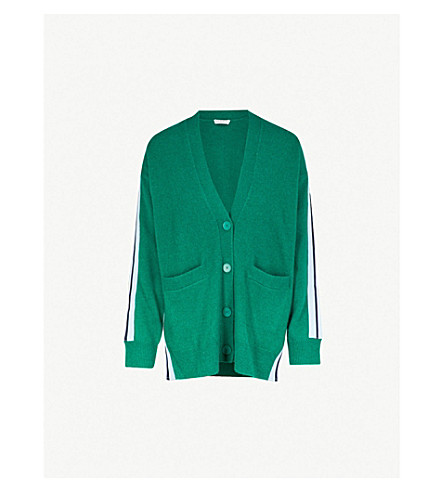 SANDRO 条纹袖羊毛混纺开襟衫 (花园