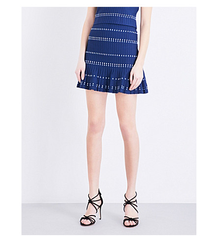SANDRO Pleated ribbed-knit mini skirt (Blue