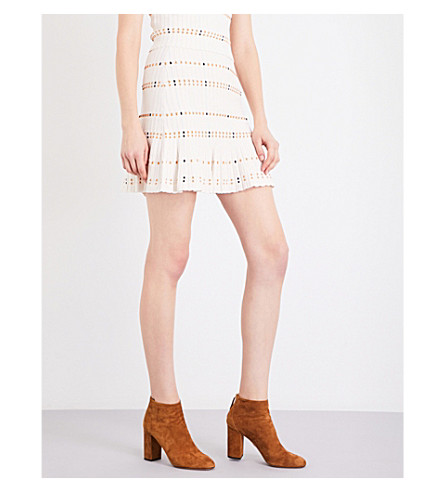 SANDRO Pleated ribbed-knit mini skirt (Ecru