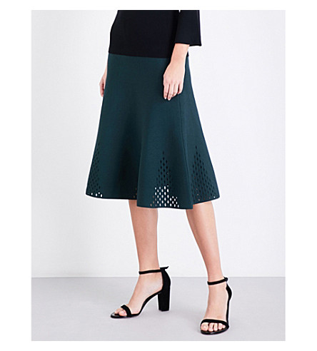 SANDRO Open-knit stretch-knit midi skirt (Forest+green
