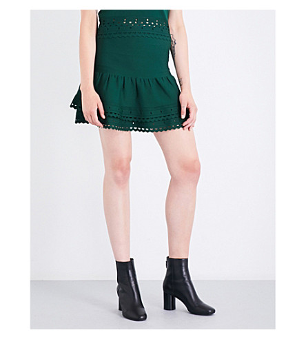 SANDRO Tiered knitted skirt (Moss+green